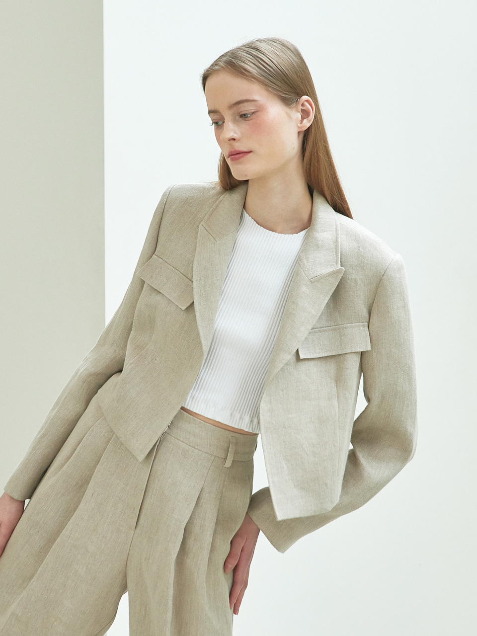 linen crop jacket (beige)