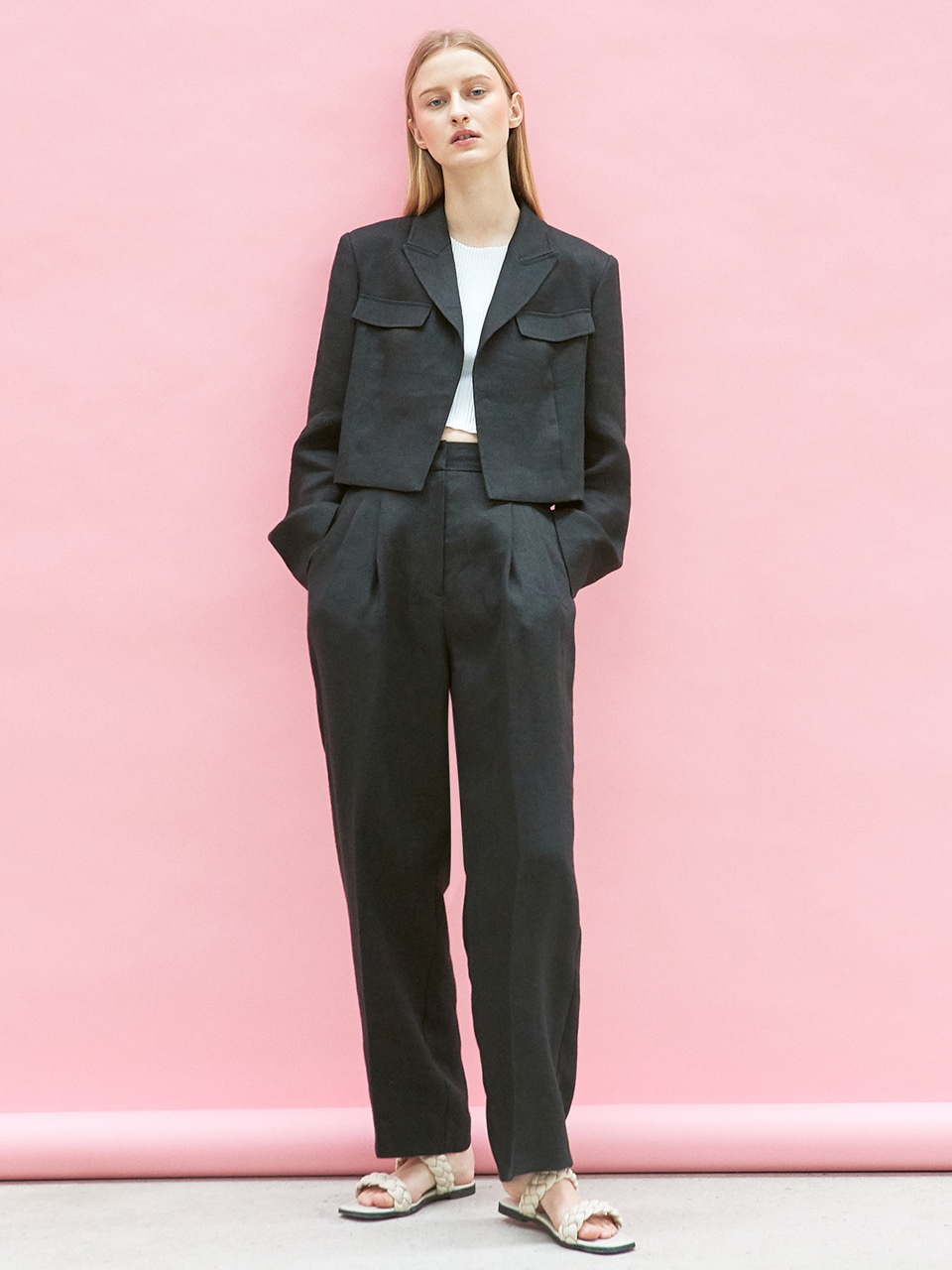[SET] linen crop jacket + linen pintuck pants (black)