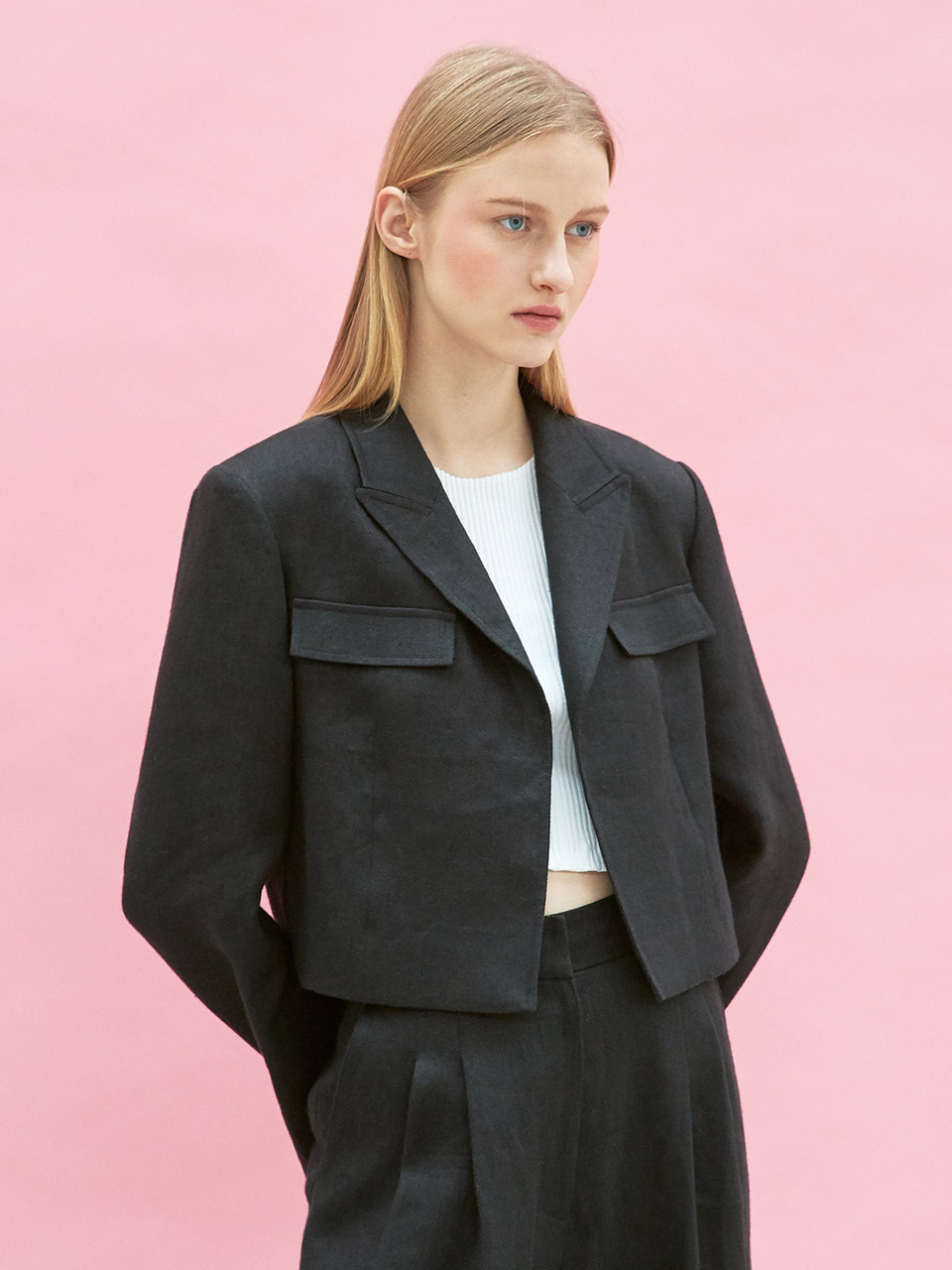 linen crop jacket (black)